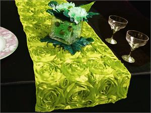 Apple Green Rosette Table Runner
