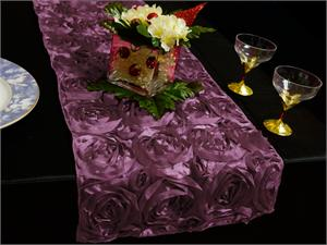 Purple Eggplant Rosette Table Runner